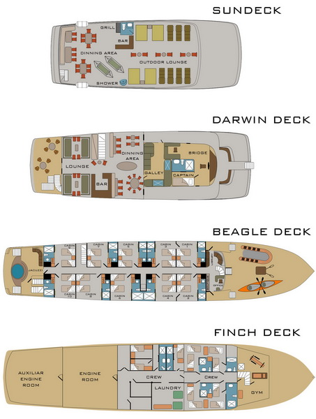 Origin luxury Galapagos cruise - deckplan