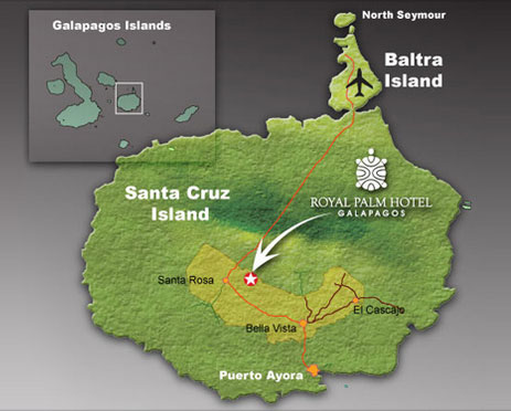 Map showing location of the Royal Palm Hotel on Santa Cruz Island, Galapagos